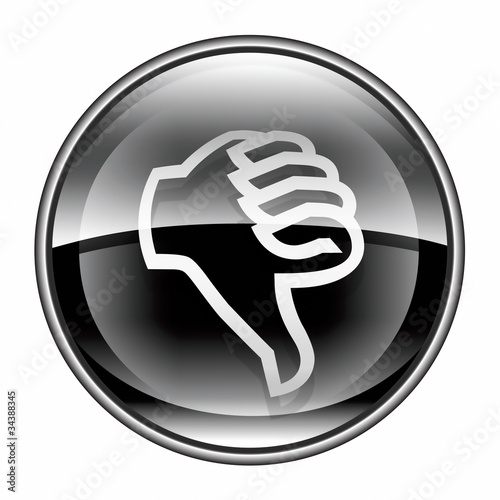 thumb down icon black, isolated on white background.