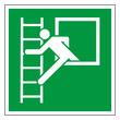 Rettungszeichen Rettungsfenster mit Leiter Piktogramm Notausgang