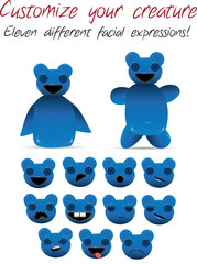 Editable creature - Eleven different facial expressions