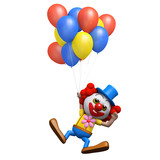 3d Clown floats away holding his balloons