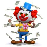 3d Clown in a flurry of dollar bills poster