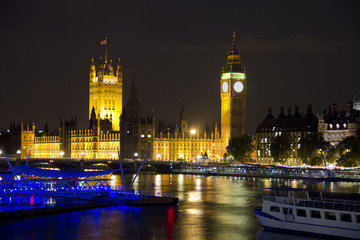 The Parliament, Big Ben and the River Thames by night