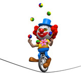 3d Clown juggles on the tightrope