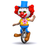 3d Clown waves from his unicycle
