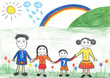 Happy family and rainbow, child's drawing.