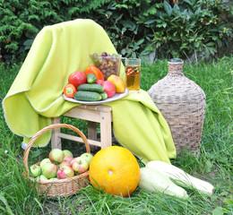 Vegetables, fruit on a grass