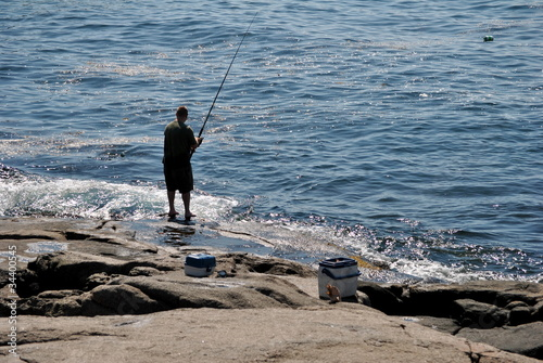 Fishing on a Rocky Shore