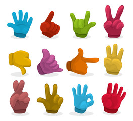 Cartoon color Hands collection ,vector.
