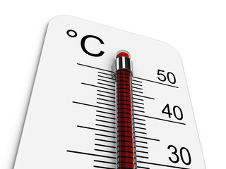 Thermometer indicates extreme high temperature