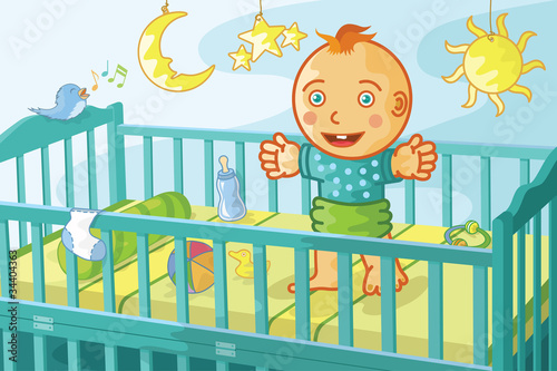 happy baby in crib