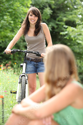 Girl cycling in park