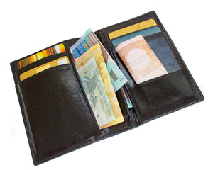 black wallet with cash and plastic card