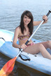 Teenage girl kayaking