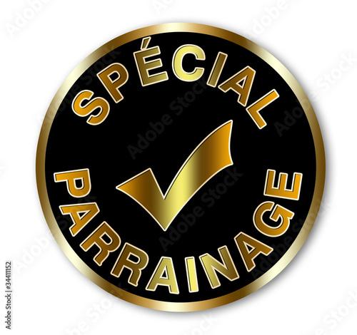 Label rond noir et or spécial parrainage