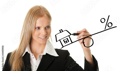 Businesswoman drawing a mortgage illustration