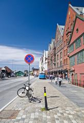 Bicicletta in divieto di sosta nel Bryggen, a Bergen