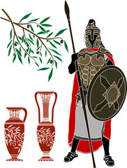 ancient hellenic warrior. stencil