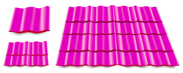 pink roof tile isolated on white background