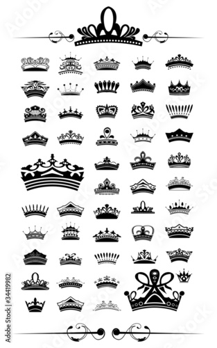 silhouettes Vector set of 50 crown - EPS 10 Vector.