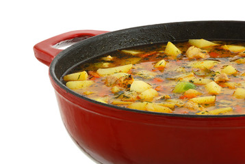 Saucepan with hot ragout