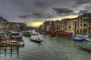 Grand canal and Rialto bridge in Venice, Italy