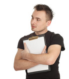 young man in black shirt keeping blank clipboard