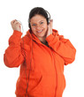 fat young woman in orange sweatshirt in headphones