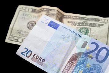 20 Euro Note with Twenty Dollar Bill