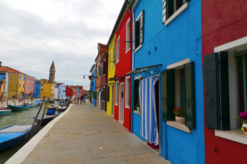 Burano island, colored houses,Italy