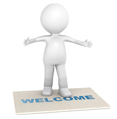 Welcome. 3D little human character giving a warm welcome