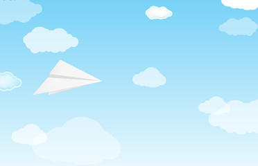 white paper planes on sky and cloud background