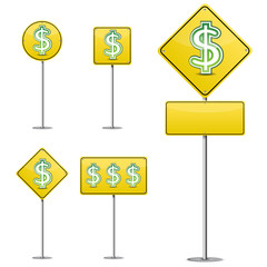 set of abstract dollar yellow road sign isolated on white