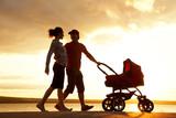 Family walk at sunset