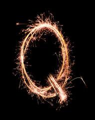 Letter Q. Real sparkler alphabet