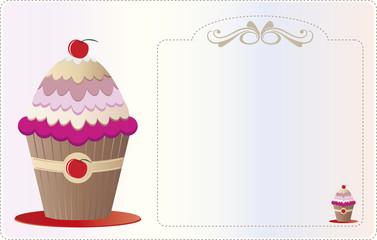 Papel convite com adornos e ilustrado com um cupcake