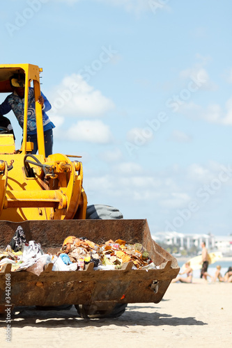 cleaning of accumulation garbage on  the beach