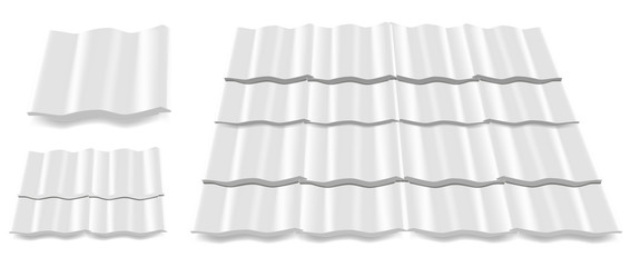 white roof tile isolated on white background
