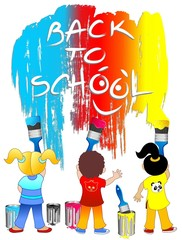 Bambini Pennelli e Scuola-Children Brushes Back to School-Vector