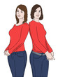two girls in red shirts vector