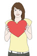 young girl holding red heart and smiling vector