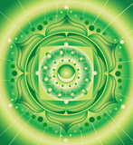 abstract green pattern, mandala of anahata chakra vector poster