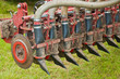 Closeup of a used manure injector (rear)