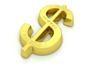 Gold bullion, US dollar symbol