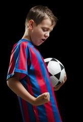 happy soccer kid on black