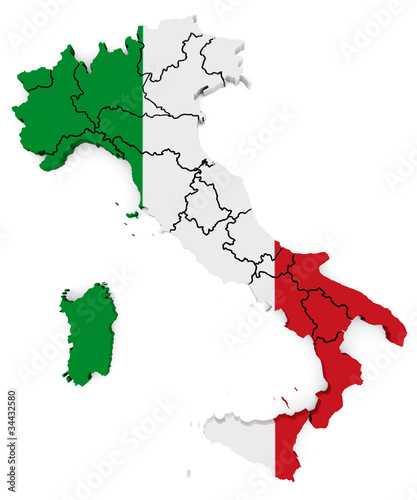 Italy map 3D - Bandiera
