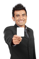 Blank business card presented by a businessman
