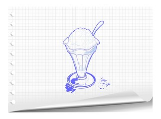 Sketchy illustration of ice cream dessert