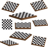 Chess board set 3d vector