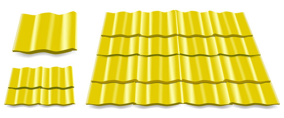 yellow roof tile isolated on white background