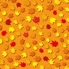 Autumn seamless background with maple leaves